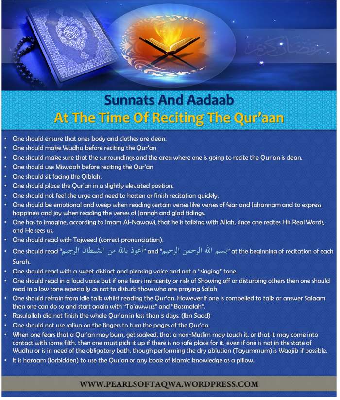 Sunnats And Aadaab At The Time Of Reciting The Qur'aan